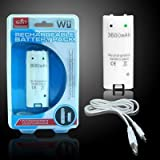 7dayshop Rechargeable Battery Pack for Nintendo Wii Remote Control - White