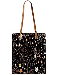 Snoogg Abstract Colorful Flowers Womens Digitally Printed Utility Tote Bag Handbag Made Of Poly Canvas With Leather...
