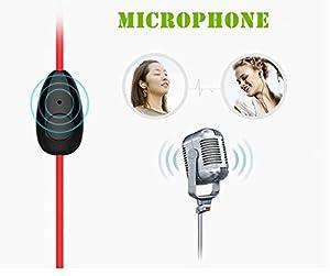 USTEK® K6 Sports Earphones Stereo Earbuds In-Ear Earphone Running Ear-hook Headphone with Microphone & Flexible Ear Hinge Red & Black