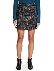 Limited Edition Sequin Embellished Mini Skirt with Wool