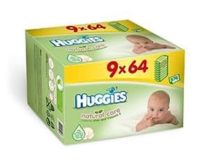 Huggies Lingettes Natural Care Format promo 9 paquetsX 64 Lingettes