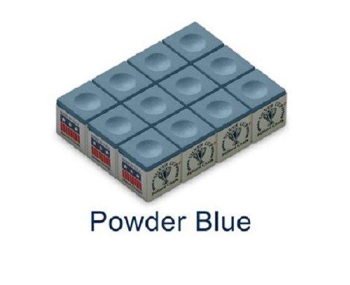 One Dozen Powder Blue Silver Cup Pool Cue Chalk