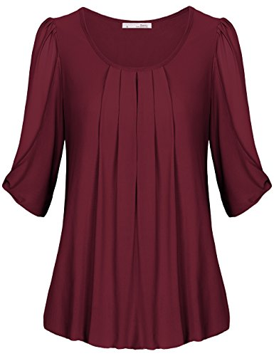 Messic Womens Round Neck Pleated Front Half Sleeve Tunic Top Wine,XXL (Ladies Blouses And Tops compare prices)