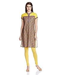 Juniper Women's Straight Kurta (30754_Yellow_XX-Large)