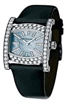 New Ladies Bvlgari Assioma 18K White Gold Full Diamonds Black Satin Strap Watch AAW36D2BL/12 101304