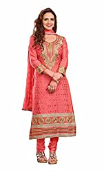 Khushali Women Cotton Embroidered Unstitched Salwar Suit Dress material(GAJRI)