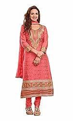 Khushali Women Cotton Embroidered Unstitched Salwar Suit Dress material(GAJRI)