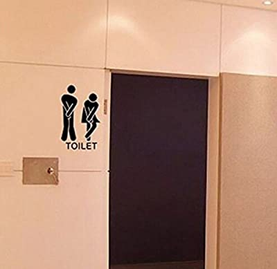 Ussore Wall Sticker Removable Cute Man Woman Washroom Toilet WC Sticker Family DIY Decor Art Wall Stickers Home Decor Wall Art For Kids Home Living Room House Bedroom Bathroom Office Home Decoration