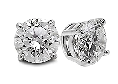 Diamond Studs Forever - 1/3 Carats Total Weight Solitaire Diamond Earrings GH/SI2-I1 14K White Gold