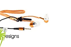 Spider Designs-Zip Bomb Base Earphone/Headphone With Mic -Orange
