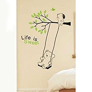 Great Value Wall Decor All-matching Removable Wallpaper Wall Stickers with Cartoon Bear on Swing Pattern Medium Size Black and Green from Mzamzi