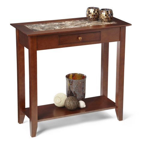 Marble Coffee Table With Drawers: Convenience Concepts M8103083 American Heritage Faux