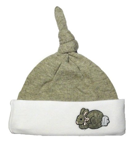 White and Gray Baby Bunny Knotted Hat