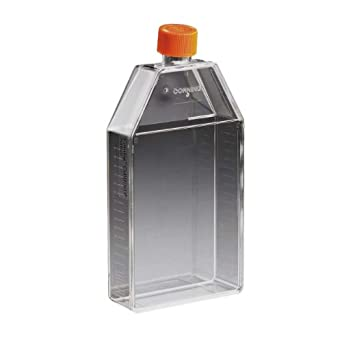 Corning 431082 Polystyrene 370mL Rectangular Angled Neck Cell Culture Flask with Orange HDPE Vent Cap (Case of 25)