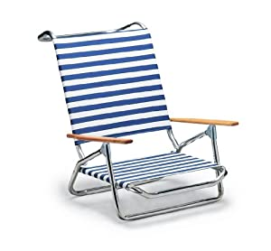 Folding Beach Arm Chair Blue White Stripe Camping Chairs Patio