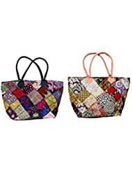 IndiWeaves Combo Offer Women's Multicolor Cotton Handbag (Combo Pack Of 2)