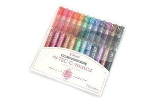 Pilot Hi-Tec-C Maica 0.4mm Extra Fine Point Ballpoint Pen, 12-Color Set (LHM180C4-12C)