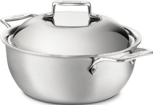 All-Clad BD55500 D5 Stainless Steel Brushed 5-Ply Bonded Dishwasher Safe Dutch Oven with Domed Lid / Cookware, 5.5-Quart, Silver