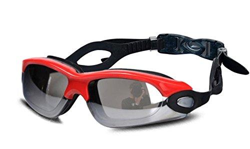WantDoゴーグル 水中 メガネ 曇り止め+紫外線防止 水泳 水泳 競泳 ケース付き 水着によく合う(ブラックレッド)