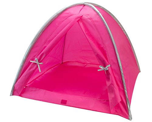 Doll Tent in Hot Pink & Silver Trim, Fits 18
