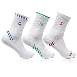 Bonjour Mens White Crew Length 3 Pairs Sports Socks_BRO7003-PO3