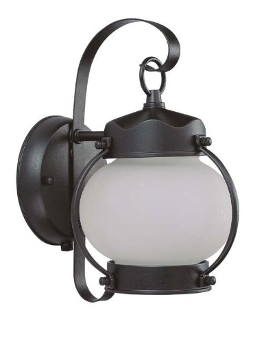 Nuvo Lighting 60/3943 One Light Onion Wall Lantern with Frosted Glass and Photocell, Textured Black
