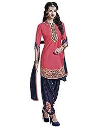 Ank Designer Jolly Pink & Blue SemiStitched Partywear Wedding Patiala Salwar Suit