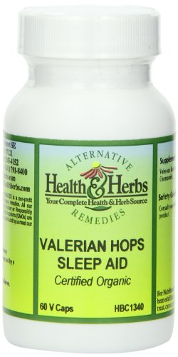 Alternative Health & Herbs Remedies Valerian Hops Sleep Aide Vegetarian Capsules, 60-Count Bottle