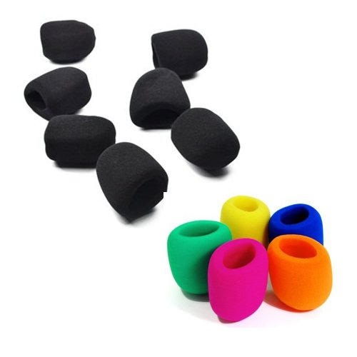 Bluecell Pack Of 7 Black Color + Pack Of 5 Blue/Green/Yellow/Hot Pink/Orange Color Handheld Stage Microphone Windscreen Foam Cover