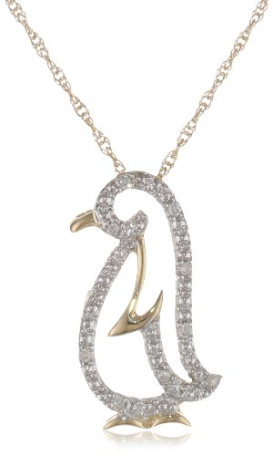 XPY 14k Yellow Gold Diamond Penguin Pendant (.03 cttw, I-J Color, I2-I3 Clarity), 18""