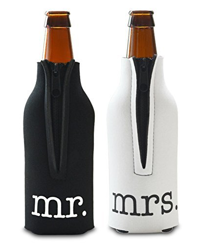 Mr. and Mrs. - Front and Back Printed- Wedding, Anniversary, Newlywed, Zipper Bottle Cooler Gift Set - Set of 2 Foam Bottle Coolers- Gift for Her