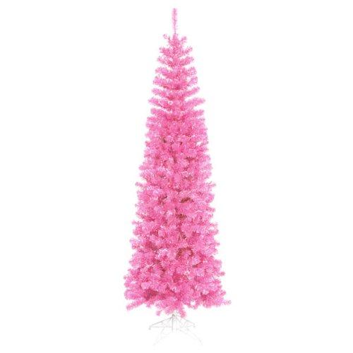 9′ Pre-Lit Hot Pink Artificial Pencil Tinsel Christmas