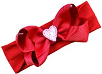 Sequin Heart Baby Bow Headband (Nylon Band ( 0-12 Months))
