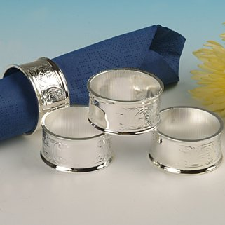 Napkin Rings Serviette Holders Silver Plated with tarnish resistant finish that never needs Silver polishing
