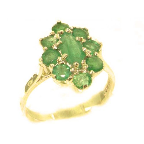 Luxury Ladies Solid British 14K Yellow Gold Natural Emerald Cluster Ring - Size 9.75 - Finger Sizes 5 to 12 Available - Perfect Gift for Birthday, Christmas, Valentines Day, Mothers Day, Mom, Mother, Grandmother, Daughter, Graduation, Bridesmaid.