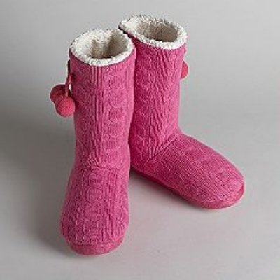 Cheap Pink Cookie Womens Pink Cable Knit Boot Slippers Fur Lined Booties (081712-125)