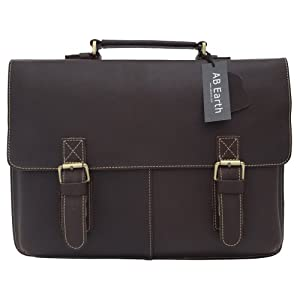 1ST Genuine Leather Men's Dark Brown Briefcase Messenger Crossbody Laptop Bag,M119 by Limited Handmade items