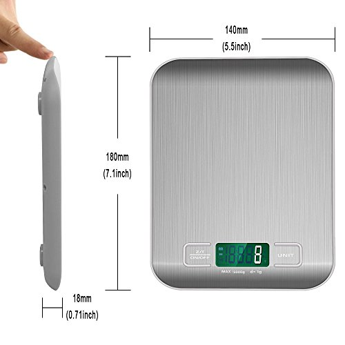 Bengoo-Digital-Food-Scale-Kitchen-Scale-Slim-Stainless-Multifunction-Scale-with-LCD-Display-and-Tare-Function-Silver-