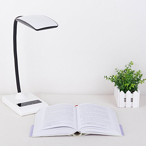 Kinglake® T400 Dimmable Eye-Care Led Desk Lamp Led Reading Lamp (7W, Flexible Neck, 5-Level Dimmer, Pure White/ Warm White Light Color,Touch-Sensitive Controller, No Flickering, No Ghosting)