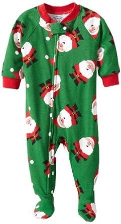 Sara's Prints Baby Girls' Footed Pajama, Santa Claus, 12 Months