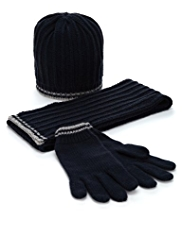 Knitted Hat, Scarf & Gloves Set