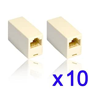 RJ45 Cat5 Couplers ~ Joiners ~ Gender Changers x 10 Pack
