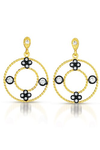 Cubic Zirconia Round Black and Gold Plated Earrings