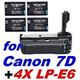 BG-E7 Battery Grip for Canon EOS 7D SLR Cameras + 4X LP-E6 Li-on Batteries