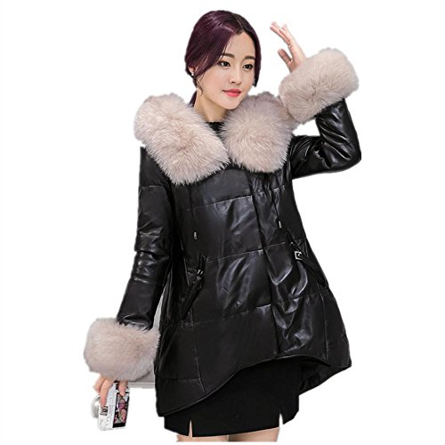 AiSiC Women 2016 Winter warmth Faux fur Hooded loose PU Leather Down Coat