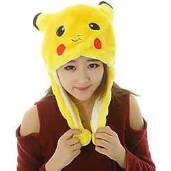 Gorro de felpa Pokemon Pikachu Cosplay lindo de la felpa del sombrero