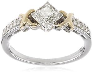 10k Two-Tone Gold Diamond X Tab Diamond Engagement Ring (1/3 cttw, I-J Color, I2-I3 Clarity), Size 6