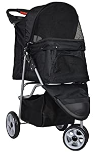 VIVO Three Wheel Pet Stroller, for Cat, Dog and More, Foldable Carrier Strolling Cart, Multiple Colors: Black, Pink, Red, Green, Camo