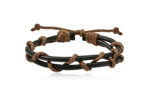 Fashion Brown & Black Leather Wrap Cuff Rasta Weave Bracelet Bangle Men's Jewelry