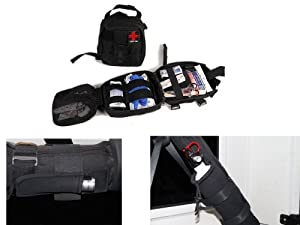 Jeep Truck SUV Roll Bar Safety Accessory Kit - First Aid Kit and Bag, Fire Extinguisher and Holder, and Mini LED Light and Holder